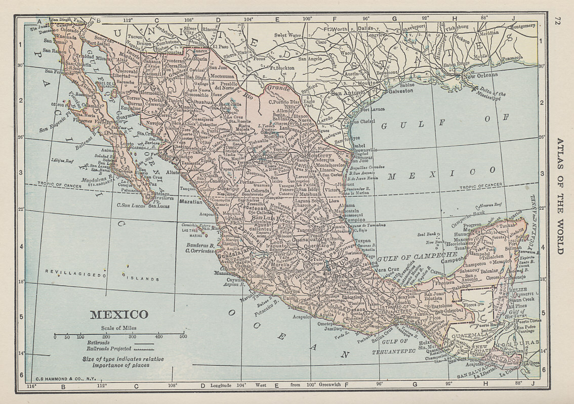 Map of Mexico from Hammond's Handy Atlas of the World With the New Census, 1915