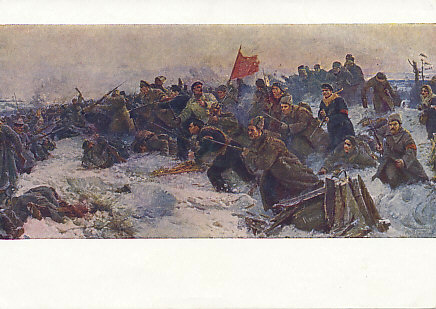Red Army troops attacking German troops in the snow, Pskov, 1918. %+%Person%m%2%n%Tsar Nicholas%-% signed his abdication papers in Pschov in March of the previous year.