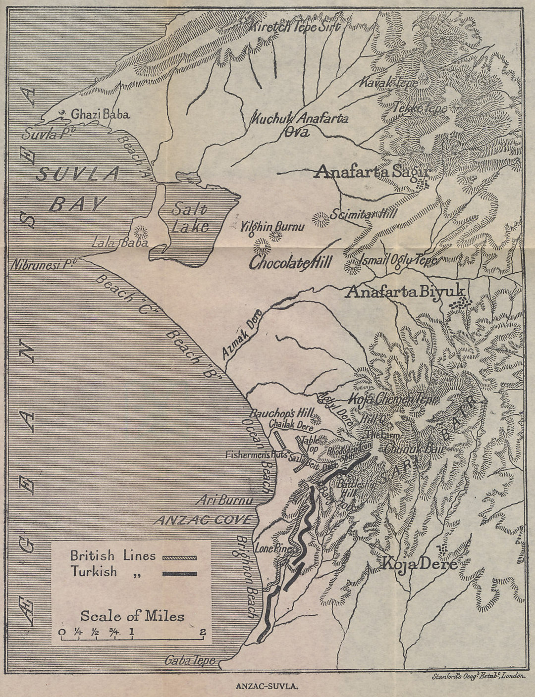 Map of the Gallipoli Peninsula from Suvla Bay to Anzac Cove  from 'Gallipoli' by John Masefield. In landing at Suvla Bay on August 6, 1915, the Allies hoped to open a new sector on Gallipoli that, with a simultaneous advance from Anzac Cove, would break the stalemate that had held since the April 25 invasion. The plan failed. Locations shown include Suvla Bay, the Salt Lake, dry in summer, Ari Burnu or Anzac Cove, named for the Australia and New Zealand Army Corps that held it, Chunuk Bair, where the New Zealanders suffered devastating casualties, and Battleship Hill, deadly to the Australians.