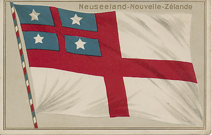 Embossed postcard of the flag of the United Tribes of New Zealand, the first flag of New Zealand, used until the signing of the Treaty of Waitangi in 1840. 