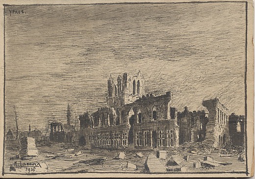 Pen and ink sketch of the Ypres Cloth Hall dated 1916 by N. Faeror? Faeroir? On November 22, 1914, German forces shelled the Hall and St. Peter's Cathedral with incendiary shells. In his memoirs, French General %+%Person%m%11%n%Ferdinand Foch%-%, wrote that they did so to compensate themselves for their defeat in the %+%Event%m%96%n%Battle of Flanders%-%.