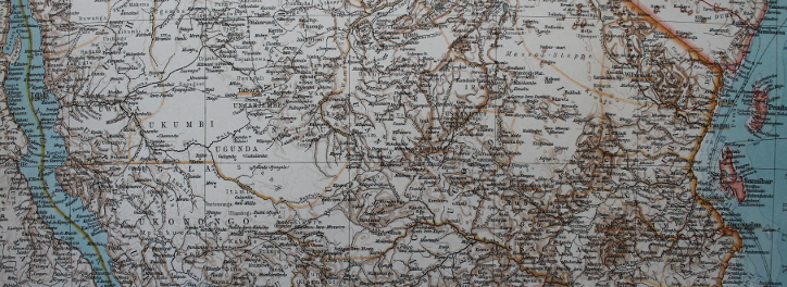 Section of a 1906 map of German East Africa from Belgian Congo and Lake Tangayika to the west to the capital of Dar-es-Salaam on the Indian Ocean coast. The German colony faced the British colonies of British East Africa and Rhodesia to the north and southwest, Belgian Congo to the west, and Portuguese Mozambique to the south. From Andree's Allgemeiner Handatlas, published in Leipzig, Germany by Velhagen & Klasing.