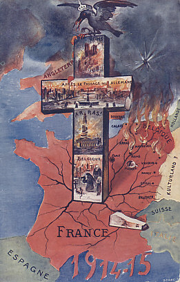 The Western Front, 1914 and 15. The Imperial German eagle is a crow feeding on carrion, perched on a cross bearing scenes of the destruction of its advance and retreat through France and Belgium: the shelled and burned cathedral of Reims, the ruination of the city of Arras, a destroyed town, deaths both military and civilian in Belgium. France held its territory along the border with Germany, and turned back the German advance in the Battle of the Marne, but Belgium and northern France remained occupied through the war.