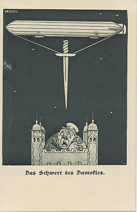 The Sword of Damocles dangling from a Zeppelin over the Tower of London and a cringing John Bull. By. A Johnson.