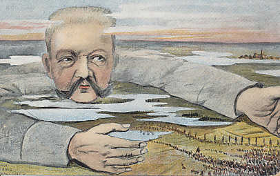 German General Paul von Hindenburg luring a Russian army into the Masurian Lakes. In the Battle of Tannenberg, the Germans destroyed the Russian Second Army, killing 50,000 and taking 90,000 prisoners. The Russian First Army managed to escape the same fate in the First Battle of the Masurian Lakes. The postcard was sent from France September 11, 1915.