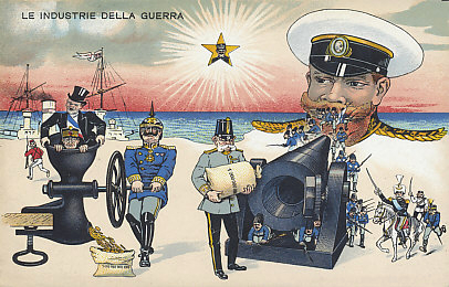 An Italian postcard of the Industry of War. Kaiser Wilhelm of Germany squeezes gold from France and Belgium, filling sacks of money he provides to his ally Emperor Franz Josef of Austria-Hungary who feeds his guns to fire at Tsar Nicholas of Russia who vomits up troops. On the bottom right, Serbia, Montenegro, and Japan join the battle against Germany and Austria-Hungary. To the left, Great Britain flees to its ships. King Victor Emmanuel III of Italy surveys it all, serenely neutral until May 1915. Germany taxed Belgium and occupied France heavily during its occupation, in money, in food and other necessities, and in human life and labor. Austria-Hungary borrowed heavily from Germany to support its war effort. The enormous manpower of Russia was a source of consolation for its allies, and of trepidation to its enemies. Some suspected Great Britain would take its small army and return to its ships, home, and empire.