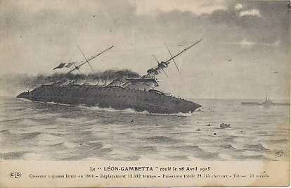 A postcard of some of the last moments of the French battleship Léon-Gambetta, sunk by the Austro-Hungarian submarine U-5 under the command of Captain Georg von Trapp around midnight the night of April 26-27, 1915. The ship sunk in just nine minutes, taking 684 of its 821 men to their death. Captain von Trapp was later famous as head of the von Trapp Family Singers, immortalized on stage and screen in The Sound of Music.