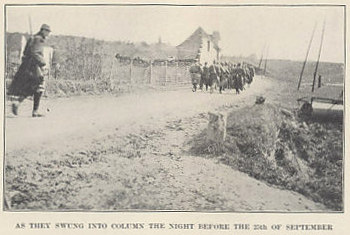 Soldiers of the French Foreign Legion moving into position on September 24, 1915, the night before the beginning of the Champagne Offensive. From 'A Soldier of the Legion' by Edward Morlae, a American, and a Sergeant in the Foreign Legion.