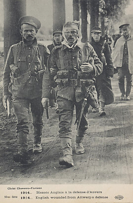 British and Belgian soldiers retreating from the defense of Antwerp. The Belgian Army and the British forces that had come to defend the city evacuated on October 7 and 8, 1914.