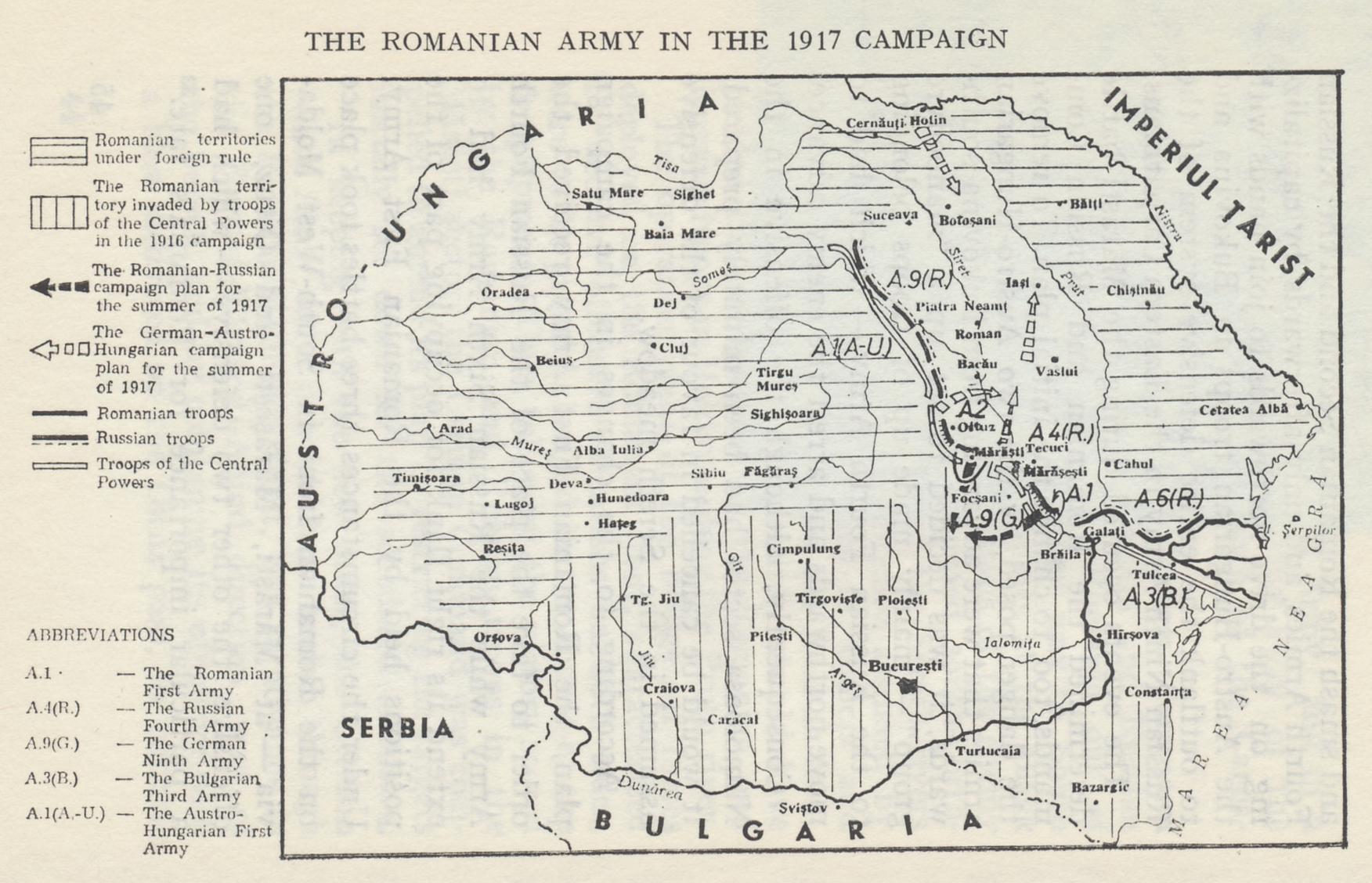 Map of Romania and the Allied and Central Power campaign plans for 1917. 'Romanian Territories under Foreign Rule' include Transylvania, Austria-Hungary, northwest of the Carpathian Mountains, and Bessarabia, Russia, to the east between the Prut and Nistru Rivers, regions with large ethnic Romanian populations. From 'Romania in World War I, a Synopsis of Military History' by Colonel Dr. Vasile Alexandrescu.
