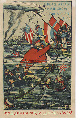 A British ship sunk under its own flag, John Bull, personification of Great Britain, calls for a false flag with which to disguise his ships even as he is being dragged beneath the surface by German mermen — submariners with armbands in the colors of the German flag. Personifications of neutral nations holding their flags include Uncle Sam of the USA, a Nederlander, and representatives of Sweden, Norway, and Denmark. In the distance, the British Isles have been hit, bombed by a Zeppelin or shelled by a sea battery.