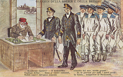 Captains and sailors of the German battleships Goeben and Breslau signing up for the Turkish Navy. After shelling Allied ports and sinking Allied ships in the Mediterranean, the two ships had entered Turkish waters at the Dardanelles on August 8, 1914. Germany said it had sold the ships to Turkey. Claiming the ships and their crews as Turkish allowed Turkey to maintain a veil of neutrality for a time. This was dropped on October 29 when the ships sank a Russian gunboat in the Crimean Black Sea port of Odessa. The postcard's caption compares the captain to Leonidas who died leading the Greeks at the Battle of Thermopylae in 480 during Xerxes's invasion in the Second Persian War.