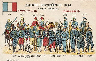 Postcard from a series on the Armies of the European War of 1914. The French Army included units from its African colonies including Morocco and Senegal, and the Départment of Algeria.