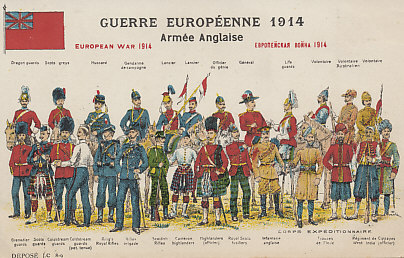 Uniforms of the British Army, 1914, from a series of postcards of uniforms of the combatants in the 1914 European War.