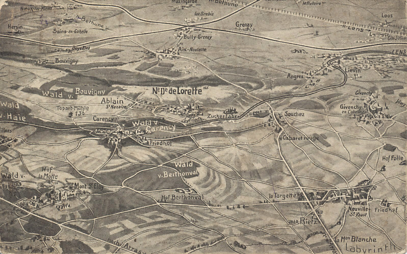 German postcard of some of the battlefield of Artois, site of the First, Second, and Third Battles of Artois (1914 and 1915), the Battle of Loos (1915), and the Battle of Vimy Ridge (1917). Loos is in the upper right, the road to Vimy on the center right. The world's largest French military cemetery is on the heights of Notre-Dame-de-Lorette.