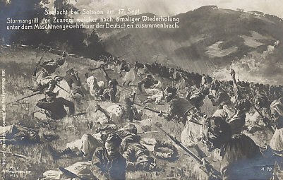 As the Battle of the Aisne drew to a close, there was hard fighting near Soissons on September 17, 1914, including at Cuffies, north of the city. French Zouaves (primarily French settlers from Algeria and Tunisia) attacked five times, but were driven back each time by German machine gun fire.