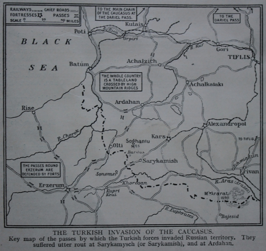 From The Great War magazine, Part 34: Map of the Turkish invasion of Russia in the Caucasus at the end of 1914, ending in defeat at the Battle of Sarikamish.