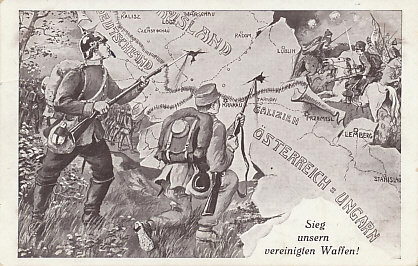 The united forces of the German and Austro-Hungarian armies turn back the Russians. They did so in the battles of %+%Event%m%40%n%Tannenberg%-%, %+%Event%m%122%n%Krasnik%-%, and %+%Event%m%123%n%Komarov%-%. By the time the card was dated and postmarked on September 6, 1914, the Russians had turned the Austro-Hungarian tide and were driving their army out of %+%Location%m%85%n%Galicia%-%.