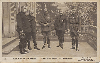 General Joseph Joffre, President Poincaré, King George V, General Ferdinand Foch, General Douglas Haig in 1916 after the replacement of Sir John French by Douglas Haig, but before that of Joseph Joffre.