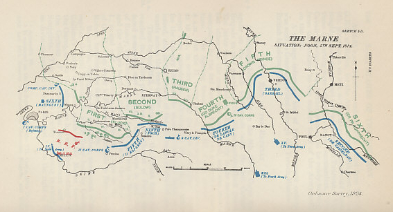 The situation on the Marne River, east of Paris, at noon on September 5, 1914. The %+%Event%m%113%n%Allied Retreat%-% has ended, and French Commander %+%Person%m%10%n%Joffre%-% has ordered his counterattack for September 6. Generals %+%Person%m%9%n%Galliéni%-%, commanding the Paris Garrison, and %+%Person%m%23%n%Maunoury%-%, leading the French Sixth Army, struck the German right flank on September 5. The German armies are in green, the French in blue, the British in red. From Military Operations France and Belgium, 1914, Vol. I, August to October, by J. E. Edmonds.