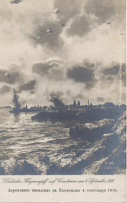 Postcard of a September 4, 1916 German air raid on Constanta, Romania