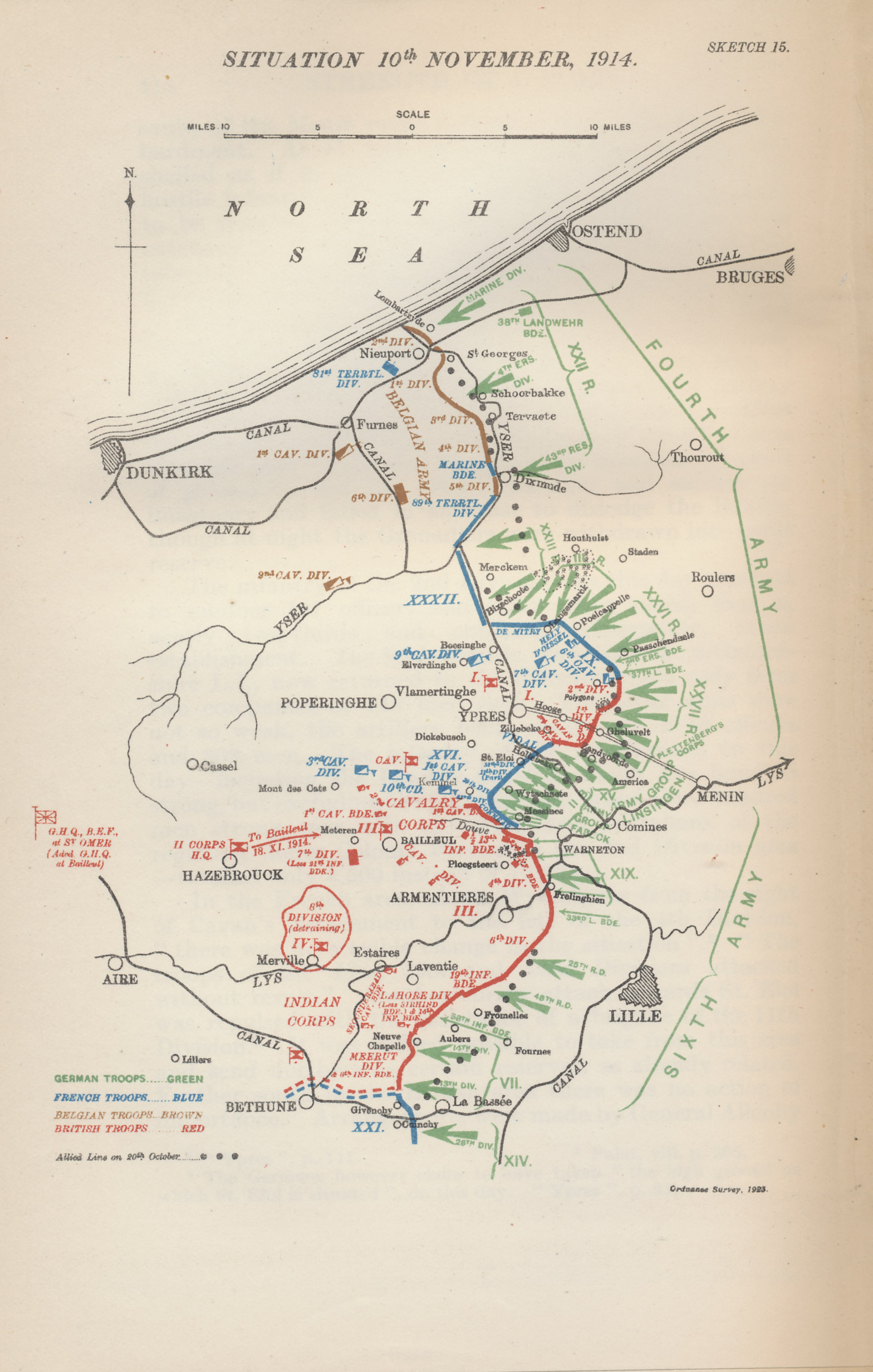 Map of the military situation in Flanders on November 10, 1914, the eve of the second major German assault on the Ypres salient. After bearing the brunt of the German assault in the latter half of October, the Belgians had inundated the farmland before them, leading the Germans to turn their efforts on the British at Ypres. After the first great German assault on October 31, the French reinforced the British line. On November 11, the Allies were unaware of how extensive the forces facing them were. Map  by Major A. F. Becke R.A. (Retired) from Military Operations France and Belgium, 1914, Vol. II, October and November, by J. E. Edmonds.