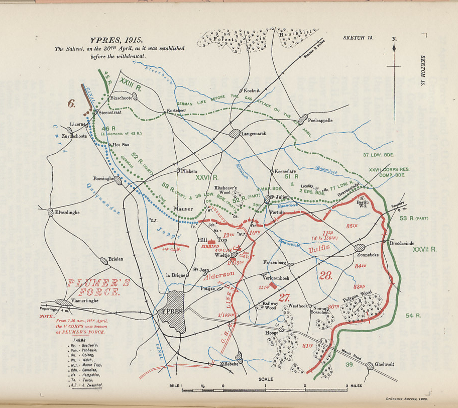 Map of the Ypres Salient on April 30, 1915 after the German gas attack of April 22, and prior to the British withdrawal to a more defensible line.