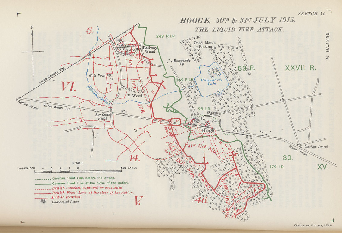 In July 1915, British and German forces fought three engagements in Hooge, a village near Ypres with a destroyed chateau held by the Germans, and its stables held by the British. A British mine on July 19 opened a crater 120 feet across. On July 30, the Germans attacked with flamethrowers, the first time the British had faced the weapon. Map from Military Operations France and Belgium, 1915, Vol. II, by Brigadier-General J.E. Edmonds and Captain G.C. Wynne. Map by Major A.F. Becke R.A. (Retired) Hon. M.A. (Oxon.)