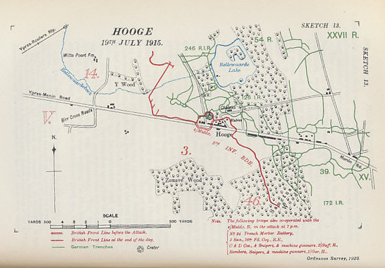 In July 1915, British and German forces fought three engagements in Hooge, a village near Ypres with a destroyed chateau held by the Germans, and its stables held by the British. The British set off a mine to open an attack on July 19 opening a crater 120 feet across. Map from Military Operations France and Belgium, 1915, Vol. II, by Brigadier-General J.E. Edmonds and Captain G.C. Wynne. Map by Major A.F. Becke R.A. (Retired) Hon. M.A. (Oxon.)