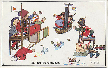 Children playing 'In the Dardanelles'. From February 19 to March 18, 1915, a Franco-British fleet tried to force its way through the Dardanelles to Constantinople. The Strait was defended by forts, some with modern German artillery. After a failure to break through on March 18, the Allies decided to invade, and in April, landed on the Gallipoli peninsula. Illustrated postcard by Pauli Ebner.