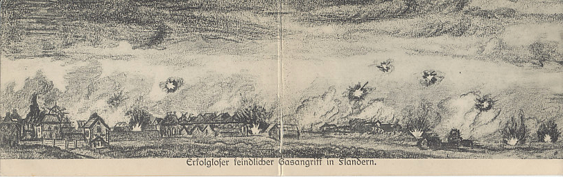 A folding postcard from a pencil sketch of an unsuccessful Allied gas attack in Flanders.