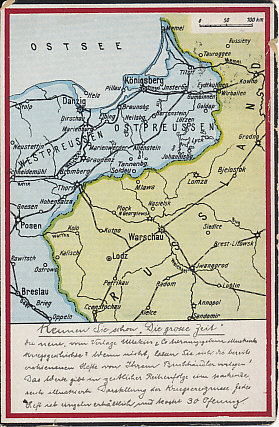 Postcard map of East Prussia and Polish Russia with a message and postmark, Vienna, August 20, 1915. From a series that asks, 'Do you know the high times?'