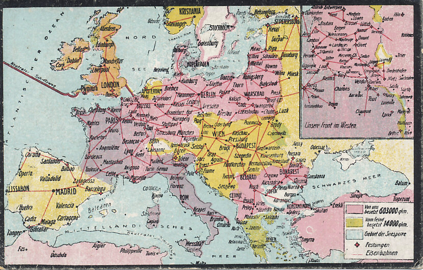 Railroad and occupied territory map of western and central Europe, northern Africa, and Turkey. A German postcard map postdating the taking of Riga  on the Baltic Sea on September 3, 1917. The inset shows the Western Front and French-occupied territory in Alsace, then German Elsass.