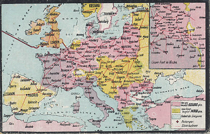 Railroad and occupied territory map of western and central Europe, northern Africa, and Turkey. A German postcard map postdating the taking of Riga  on the Baltic Sea on September 3, 1917 but before the German advance in February, 1918. The inset shows the Western Front and French-occupied territory in Alsace, then German Elsass.