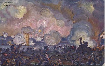Battle on the Somme, by Oskar Martin Amorbach, showing the blue Hessen (Infantry Regiment Lieb, 'Grand Duchess') in combat against British troops.