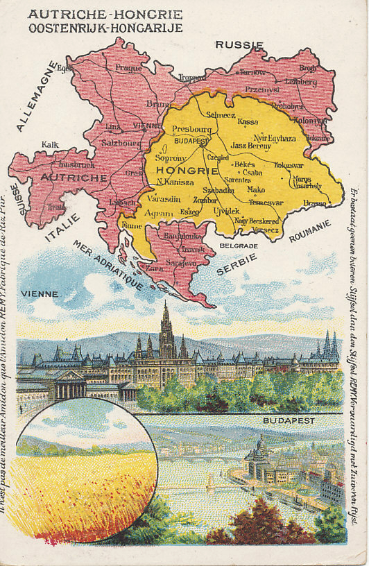 Advertising postcard map of Austria-Hungary from the Amidon Starch company. with images of Vienna, Budapest, and a wheat field.