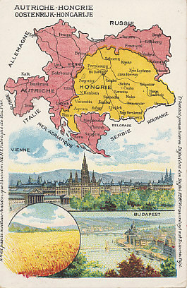 Advertising postcard map of Austria-Hungary from the Amidon Starch Company with images of Vienna, Budapest, and a wheat field.