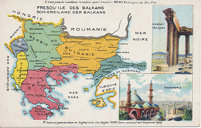 Advertising postcard map of the Balkans from the Amidon Starch company - Serbia, Montenegro, Bulgaria,  Albania, Greece, and Turkey in Europe - with images of the Acropolis in Athens and Andrinople in Turkey. The map shows the region after the Second Balkan War.