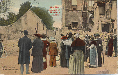 Civilians in Senlis, a destroyed town in northern France that was occupied on September 2, 1914, in the initial German advance into France, and evacuated a week later in the retreat from the Marne.