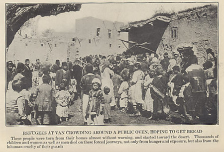 Refugees in Van, Armenian Turkey, crowding around a public oven in hopes of getting bread. Photograph from 'Ambassador Morgenthau's Story' by Henry Morgenthau, Formerly American Ambassador to Turkey from 1913 to 1916. The Ambassador made repeated attempts during 1915 to convince the rulers of Turkey, particularly Interior Minister Talaat and War Minister Enver, to spare the Armenian population.