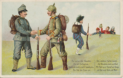An Italian Alpini soldier slinking away from his erstwhile allies Austria-Hungary and Germany. The Entente Allies welcome him, France with open arms, Great Britain with a sack of money, and Russia. Italy was part of the Triple Alliance with Germany and Austria-Hungary, but declared neutrality on August 3, 1914. With promises of territorial gains, and a loan, it joined the Allies, declaring war on Austria-Hungary on May 23, 1915. The poem notes that although one comrade has fallen away, the other two hold a steadfast bond.