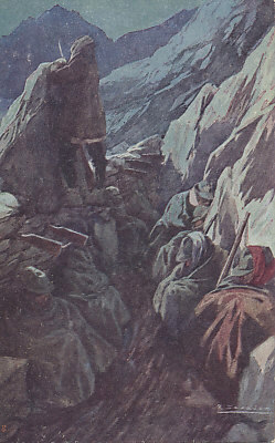 Italian soldiers huddled in their mountain trenches trying to sleep while a sentry stands guard. From a painting by R. Salvadori, a card to benefit soldiers maimed in the war.