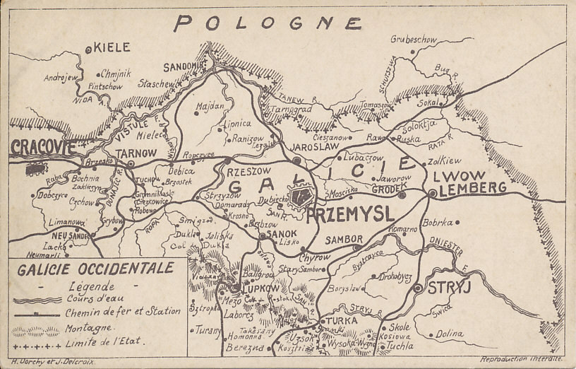 Map of Galicia, Austria-Hungary showing the the fortress of Przemyśl, the cities of Cracow (Cracovie) and Lemberg, and the Bug and Dniester Rivers. Austria-Hungary lost most of the territory to Russia in 1914, and, with Germany's aid, regained it in the Gorlice-Tarnow Offensive of 1915.