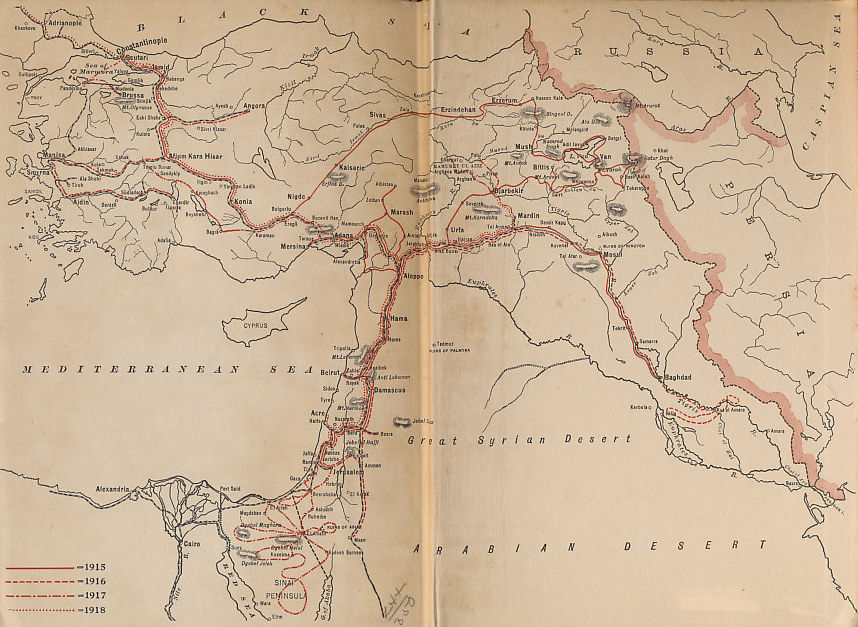 Map of the Ottoman Empire showing the travels of Rafael De Nogales, Inspector-General of the Turkish Forces in Armenia and Military Governor of Egyptian Sinai during the World War, from his book %i1%Four Years Beneath the Crescent%i0%.