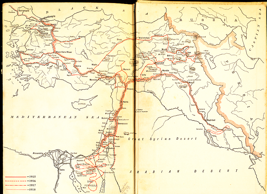 Endpaper map from 'Four Years Beneath the Crescent' by Rafael De Nogales, Inspector-General of the Turkish Forces in Armenia and Military Governor of Egyptian Sinai during the World War showing his travels through the Ottoman Empire and it battle fronts in the Caucasus Mountains, Mesopotamia, Palestine, and Syria in 1915 through 1918.