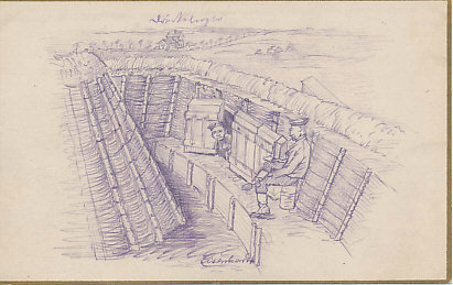 "A pencil sketch of German soldiers in a well-made trench. One peers from a dugout defended by sturdy doors. Signed trench art by ""Eisenhardt."""