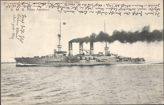 The German armored cruiser S.M.S Prinz Adalbert under steam. Stationed in the Baltic Sea, Prinz Adalbert had run aground on January 24, 1915, and been torpedoed by the British submarine E.9 on July 2. On October 23 submarine E.8 torpedoed the battleship setting off an explosion in a magazine. Only three survived.