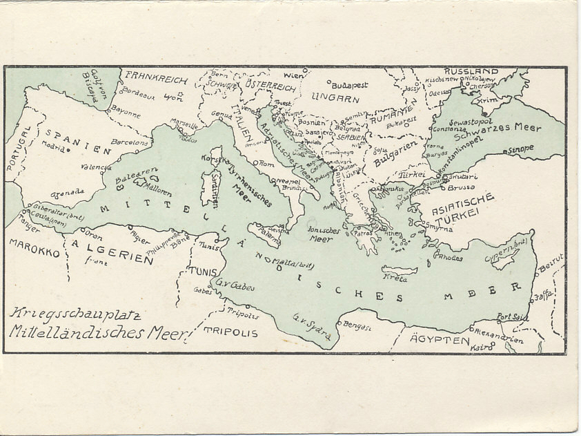 The Mediterranean and Black Seas, one of five maps in an Austro-Hungarian folding postcard of battlefronts: the Western, Eastern, and Serbian Fronts, the North and Baltic Seas, and the Mediterranean and Black Seas.