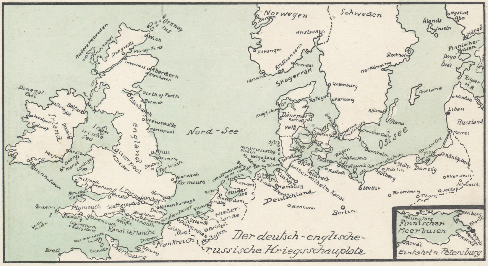 Map of the North and Baltic Seas from a folding postcard of five battlefronts: the Western and Eastern Fronts; North and Baltic Seas, Mediterranean and Black Seas; and the Serbian-Montenegro Front.