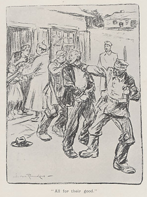 'All for their Good,' a cartoon by Dutch artist Louis Raemaekers, from 'Through the Iron Bars (Two years of German occupation in Belgium)' by Emile Cammaerts Illustrated with Cartoons by Louis Raemaekers.